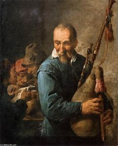 David The Younger Teniers - Il Musette Player