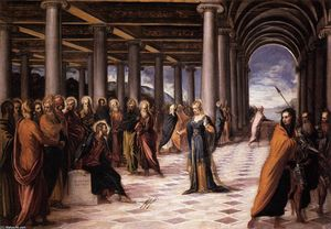 Tintoretto (Jacopo Comin) - cristo e il donna preso in `adultery