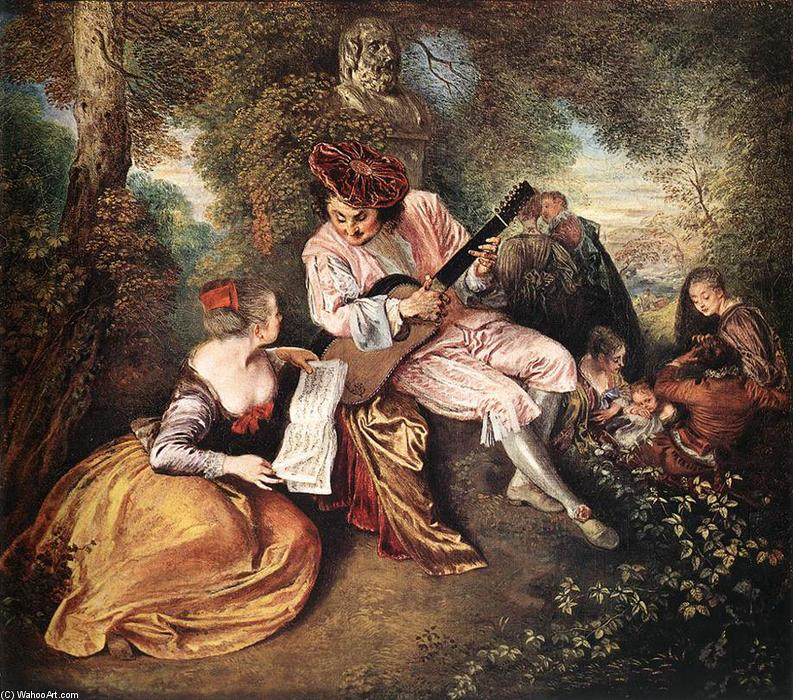 La gamme d amour (The Love Song), olio su tela di Jean Antoine Watteau (1684-1721, France)