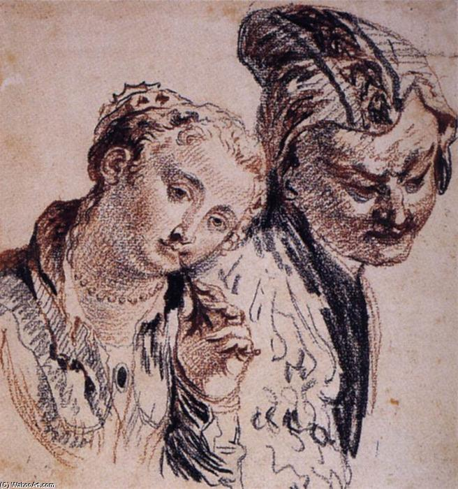 Sketch con due figure, creta di Jean Antoine Watteau (1684-1721, France)
