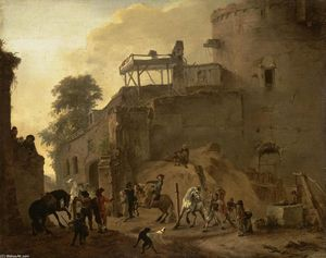 Philips Wouwerman - Manege Riding in Open Air