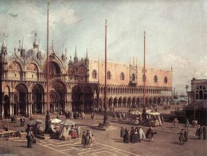 Giovanni Antonio Canal (Canaletto) - Piazza San Marco : Cercando South-East