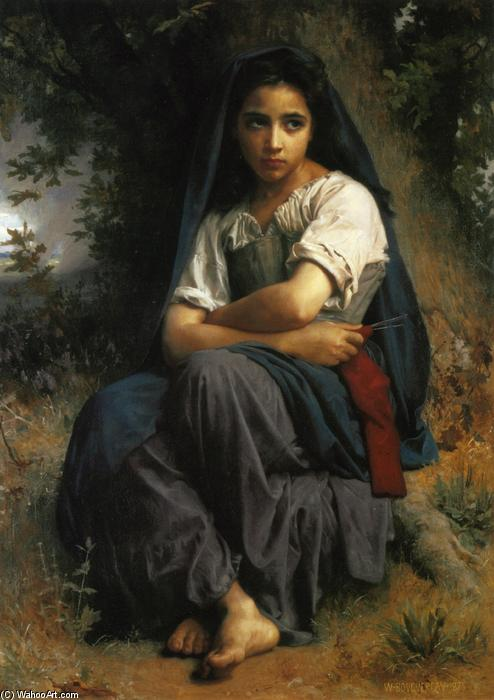 The Little Knitter, olio su tela di William Adolphe Bouguereau (1825-1905, France)
