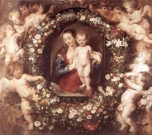 Peter Paul Rubens - Madonna in corona floreale