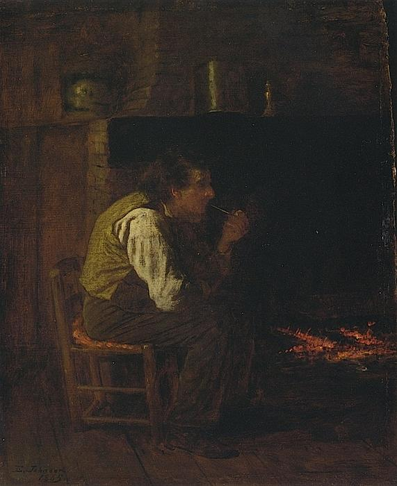 Maine interni -   L uomo  con  condotto , olio su tavola di Jonathan Eastman Johnson (1824-1906, United Kingdom)