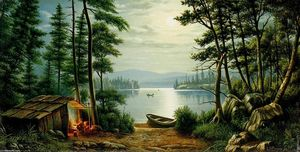 Levi Wells Prentice - Moonlight Camping a Schroon Lake