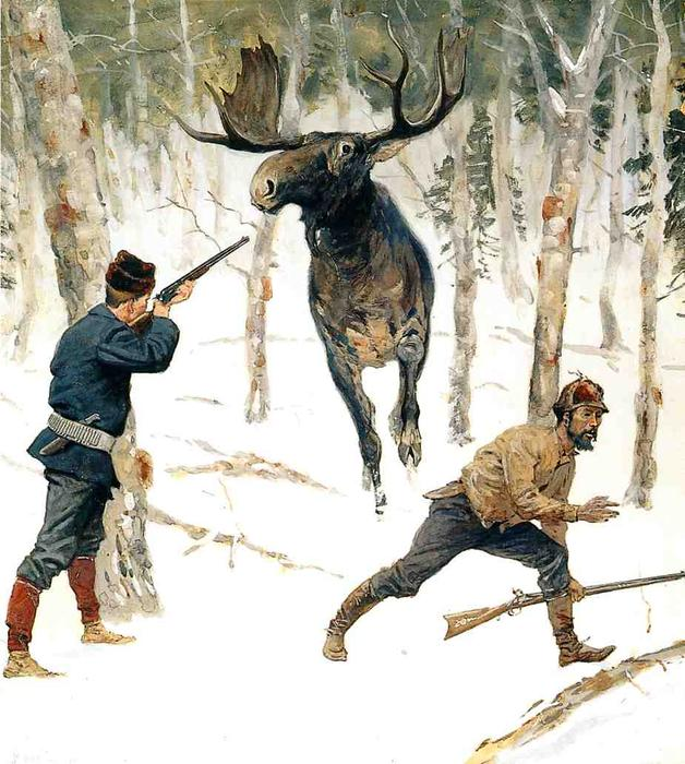 The Moose Hunt, pittura di Frederic Remington (1861-1909, United States)