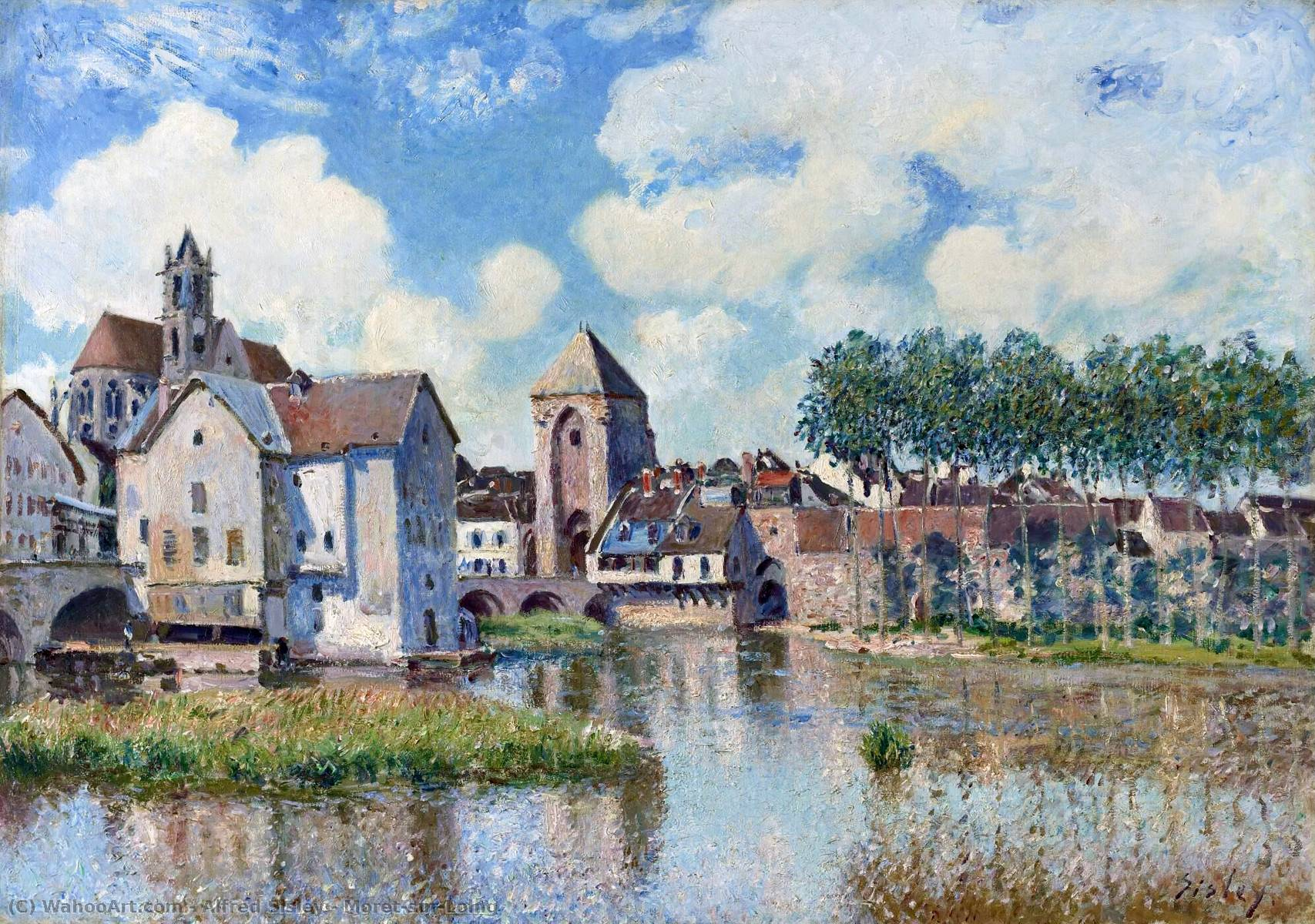 Moret-sur-Loing, disegno di Alfred Sisley (1839-1899, France)