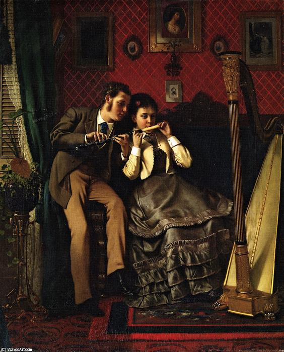 La lezione di musica, 1870 di John George Brown (1831-1913, United Kingdom) | WahooArt.com