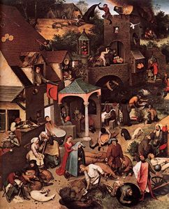 Pieter Bruegel The Elder - Proverbi fiamminghi (particolare)
