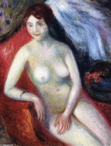 William James Glackens - Nudo su  Un  rosso  divano