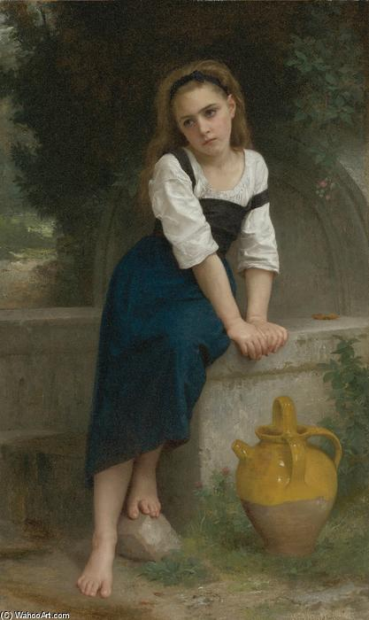 Orpheline à la fontaine, olio su tela di William Adolphe Bouguereau (1825-1905, France)