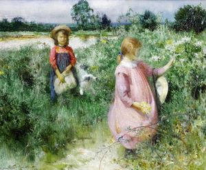 Arthur Hacker - Picking wildflowers