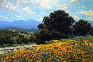 Granville Redmond - Poppy Field con Oaks e Lupini (noto anche come A Trail Foothill)