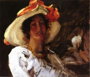 William Merritt Chase - ritratto di clara stephens che porta un cappello con un orange Nastro