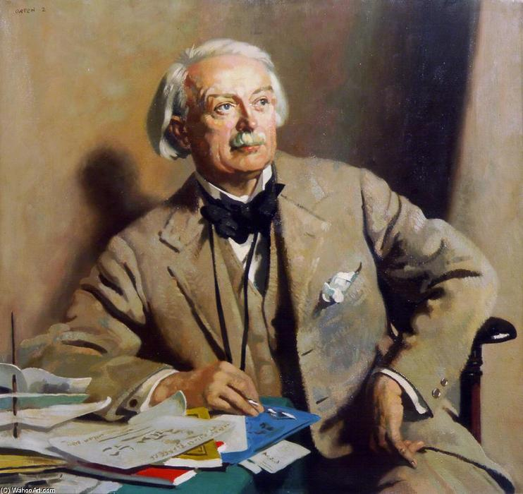 Ritratto of la rt . Tesoro . David lloyd George, olio su tela di William Newenham Montague Orpen (1878-1931, Ireland)