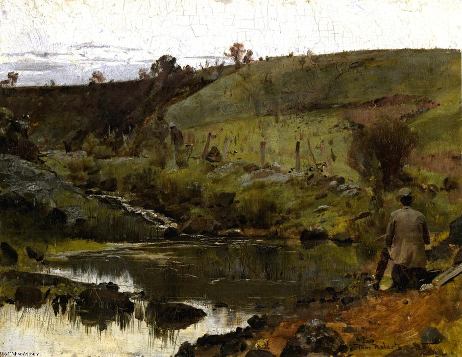 Una giornata tranquilla sul Darebin Creek, 1885 di Thomas William Roberts (1856-1931, United Kingdom) | Riproduzioni D'arte Del Museo Thomas William Roberts | WahooArt.com