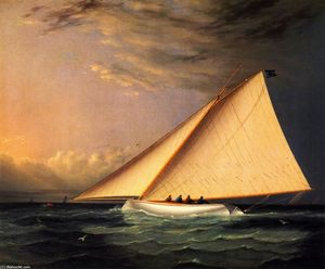 James Edward Buttersworth - A yacht racing on il grande Sud Bay