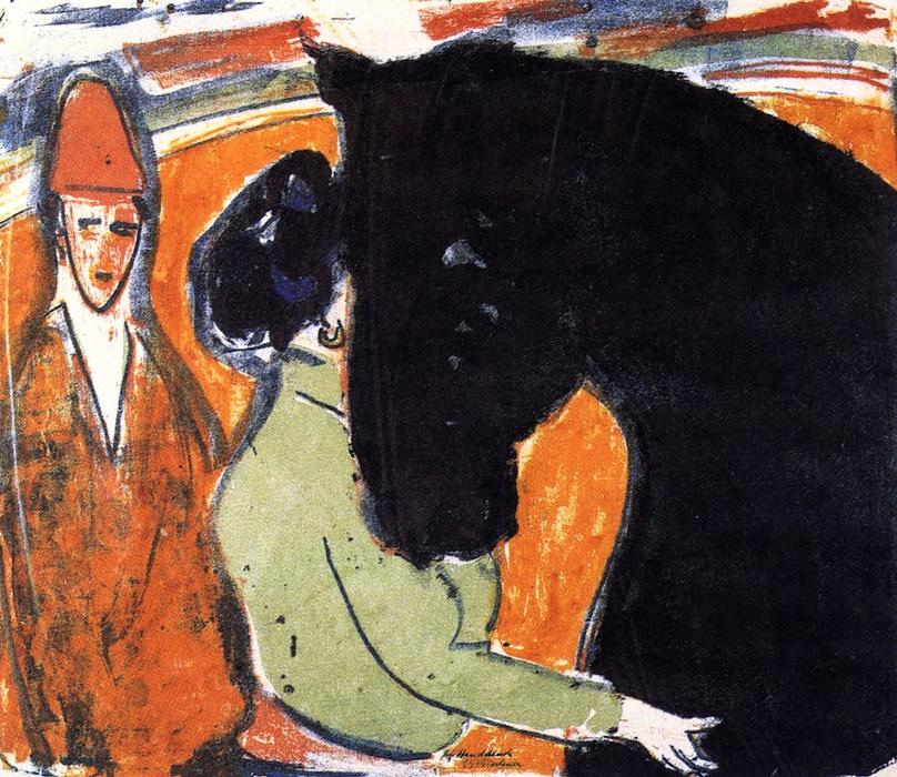 Rapphengst, Reiterin und Clown, 1909 di Ernst Ludwig Kirchner (1880-1938, Germany) | WahooArt.com