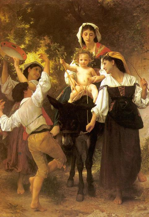 Ritorno dalla vendemmia, olio su tela di William Adolphe Bouguereau (1825-1905, France)
