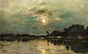 Charles François Daubigny - Riverbank in Moonlight