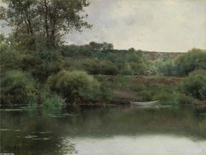 Emilio Sanchez-Perrier - Un Riverbank a Poissy