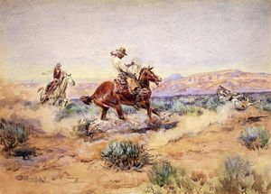 Charles Marion Russell - Roping un lupo