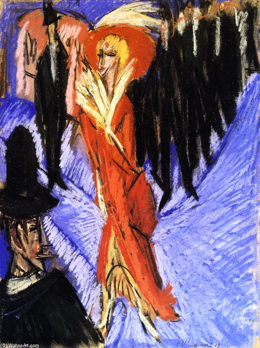 Rote Kokotte, disegno di Ernst Ludwig Kirchner (1880-1938, Germany)