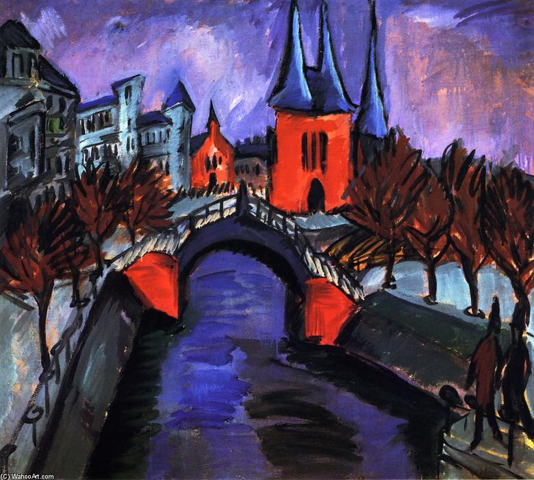 Rotes Eilsabethufer, Berlino, 1912 di Ernst Ludwig Kirchner (1880-1938, Germany) | WahooArt.com