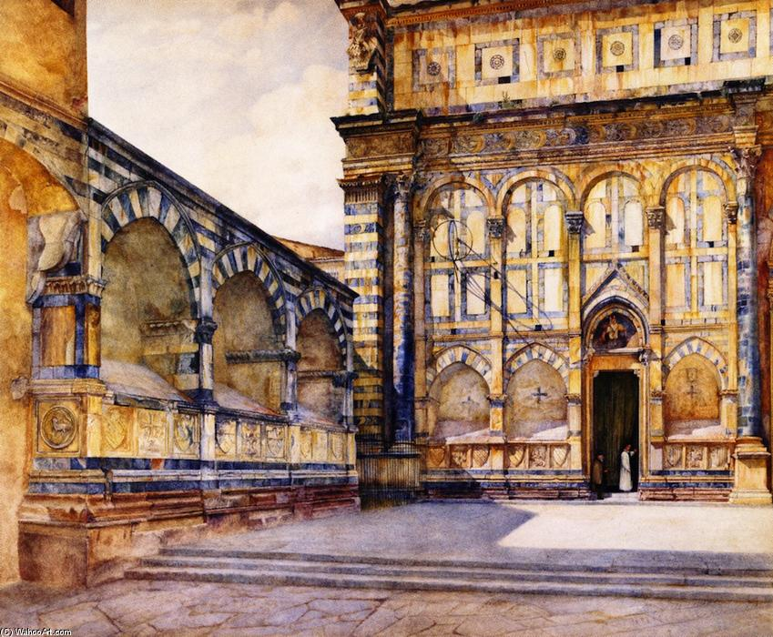 Santa Maria Novella , Florence , Italy, acquerello di Henry Roderick Newman (1833-1918, United States)
