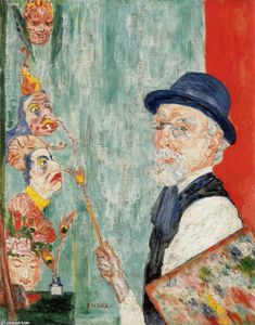 James Ensor - autoritratto con  maschere