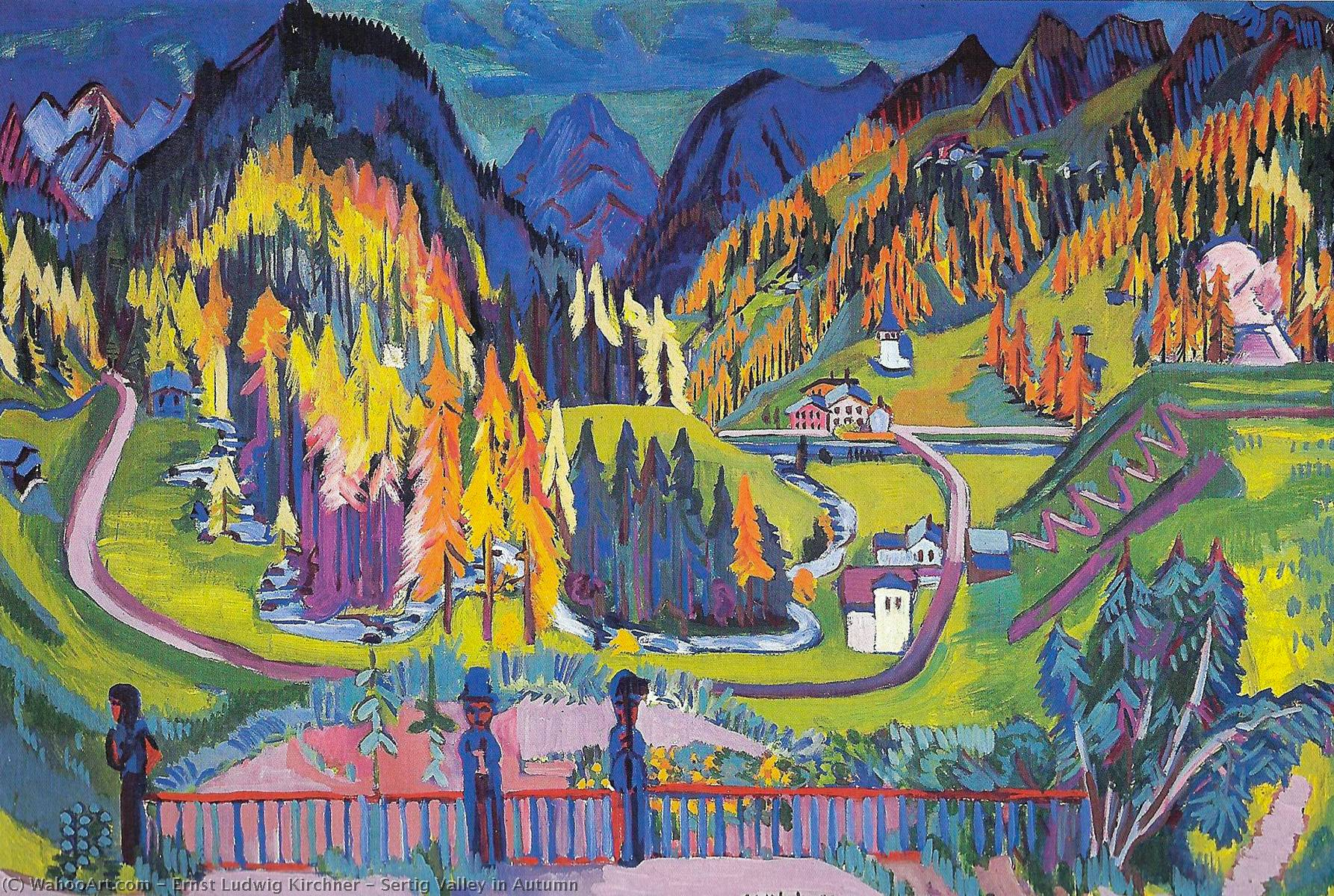 Sertig Valle in autunno, olio su tela di Ernst Ludwig Kirchner (1880-1938, Germany)