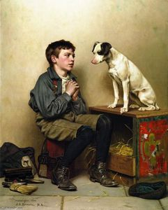John George Brown - null Ragazzo with Dog