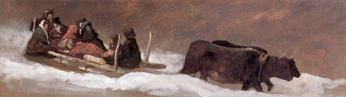 Il Sleigh Ride, olio su pannello di Jonathan Eastman Johnson (1824-1906, United Kingdom)