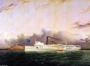 James Edward Buttersworth - The Steamboat Escort al largo della batteria