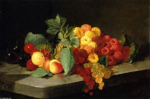 Lilly Martin Spencer (Angelique Marie Martin) - Still LIfe with Bacche and Ribes