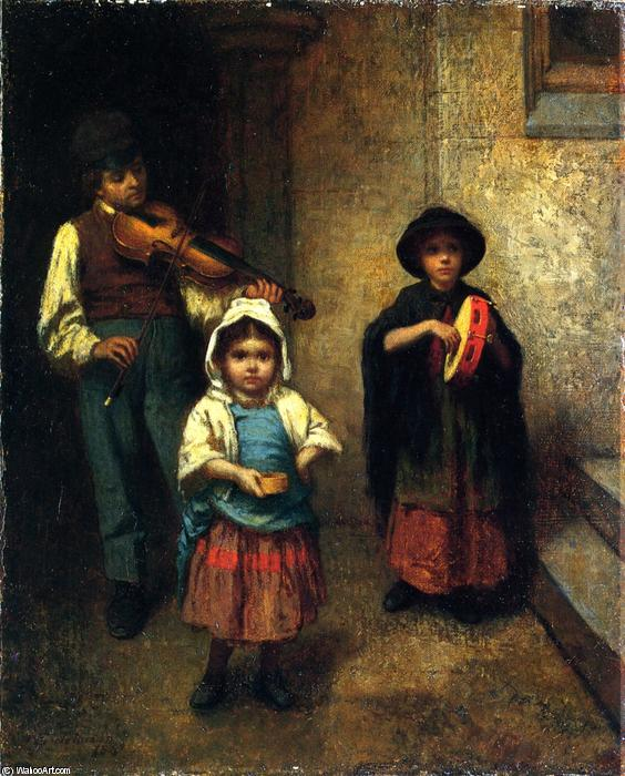 via musicisti , olio su tela di Jonathan Eastman Johnson (1824-1906, United Kingdom)