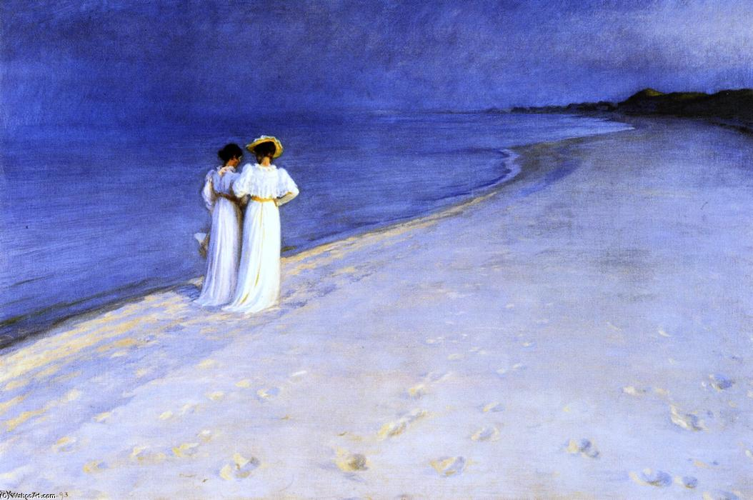 estate notte sul south beach a skagen, olio su tela di Peder Severin Kroyer (1851-1909, Norway)