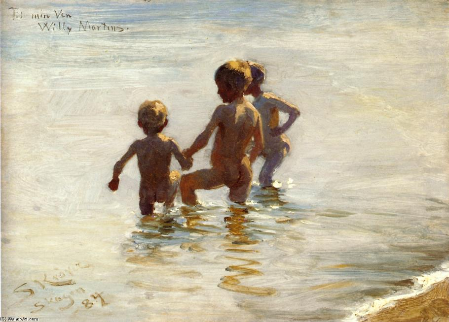 Un Summer`s Giornata a skagen south beach, 1884 di Peder Severin Kroyer (1851-1909, Norway) | Riproduzione Art | WahooArt.com
