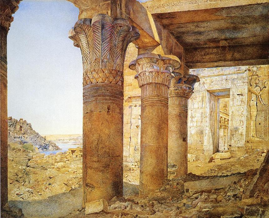 Temple of Philae dal Esterno Court, acquerello di Henry Roderick Newman (1833-1918, United States)