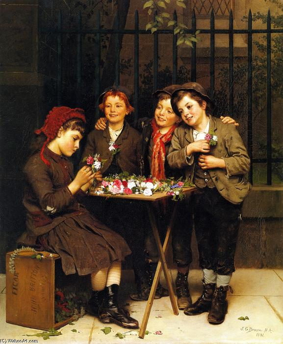 Clienti difficili, olio su tela di John George Brown (1831-1913, United Kingdom)
