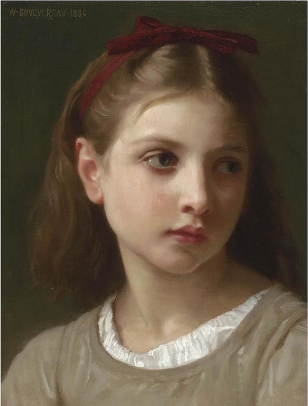 Une petite fille, 1886 di William Adolphe Bouguereau (1825-1905, France)