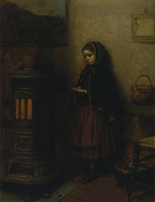 Riscaldamento sue mani, olio su tela di Jonathan Eastman Johnson (1824-1906, United Kingdom)