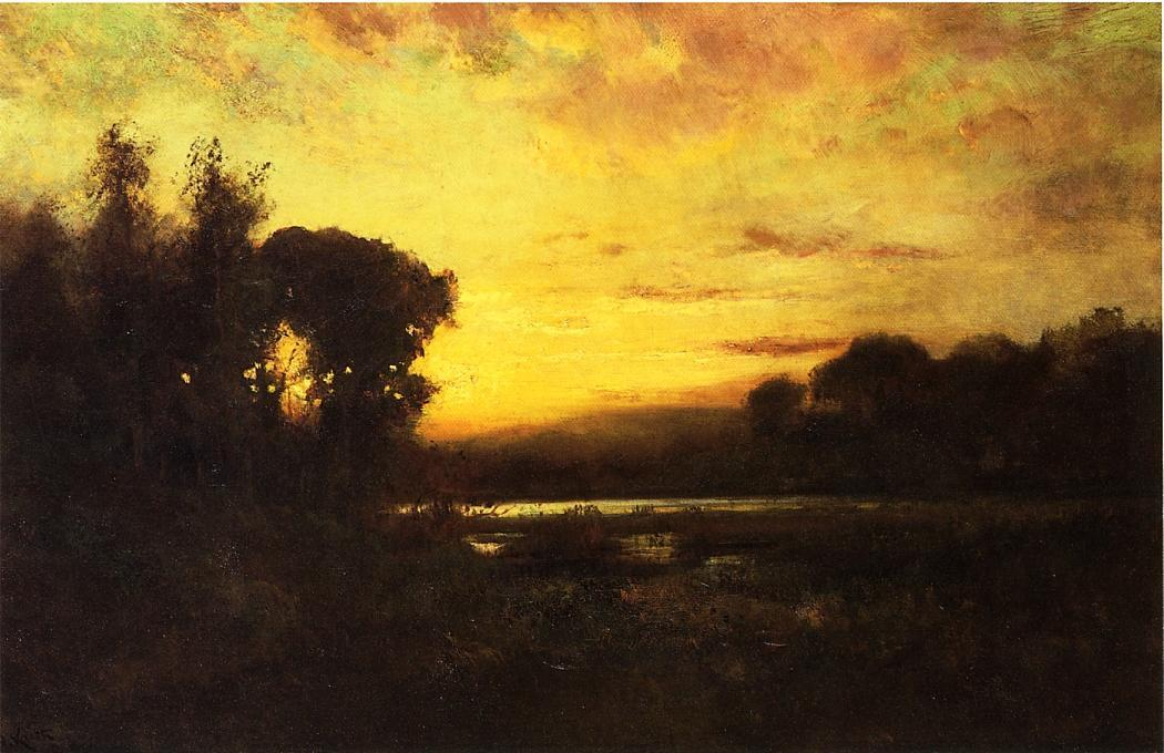 Le zone umide al tramonto, olio su tela di William Keith (1838-1911, Scotland)