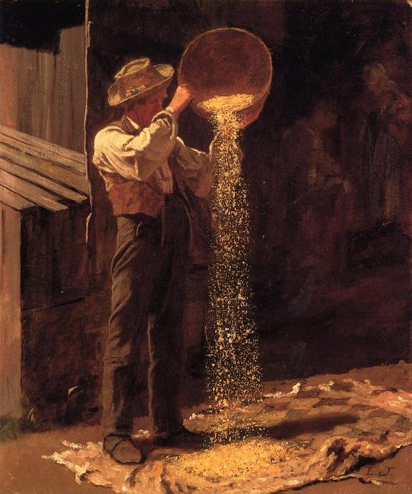 Vagliatura del grano, 1877 di Jonathan Eastman Johnson (1824-1906, United Kingdom)