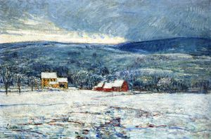 Frederick Childe Hassam - in inverno Antartico  nel Connecticut  colline