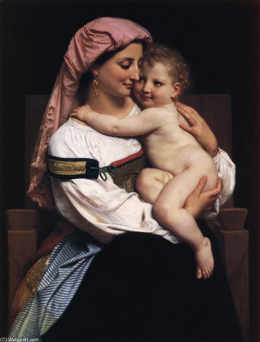 Donna Cervara e lei Bambino, olio su tela di William Adolphe Bouguereau (1825-1905, France)