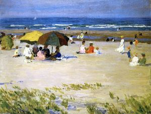 Edward Henry Potthast - donna con Bianca  accappatoio