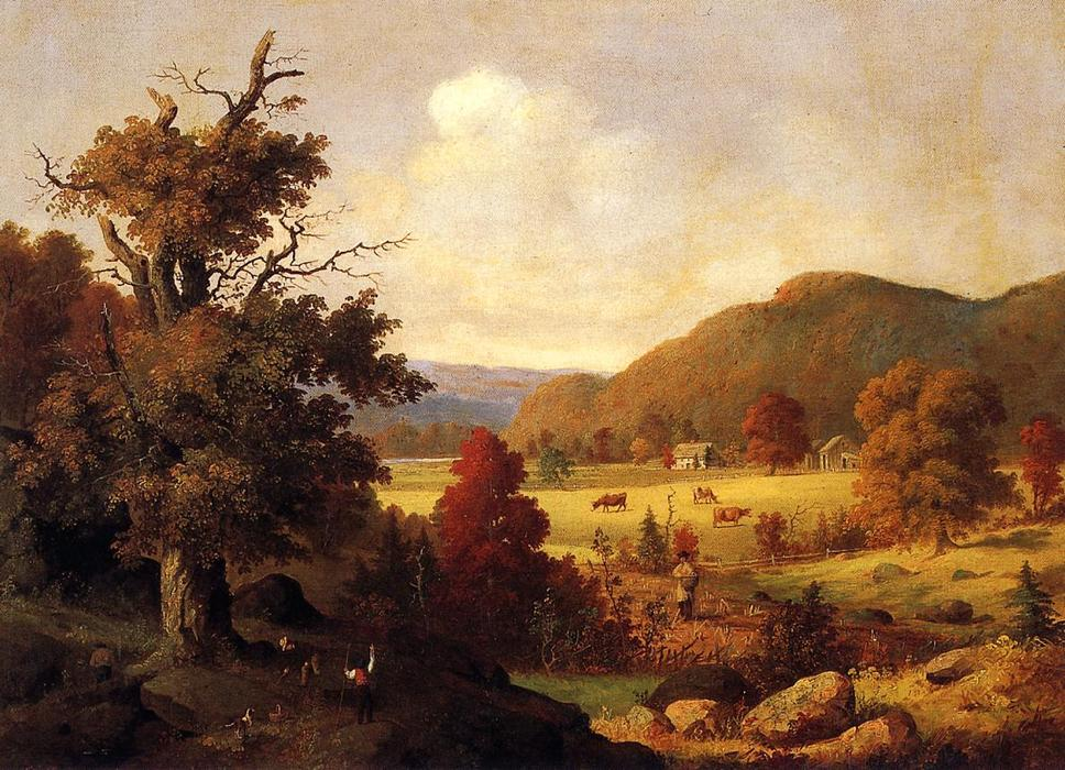 Woodland Glade in autunno, olio su tela di George Henry Durrie (1820-1863, United States)