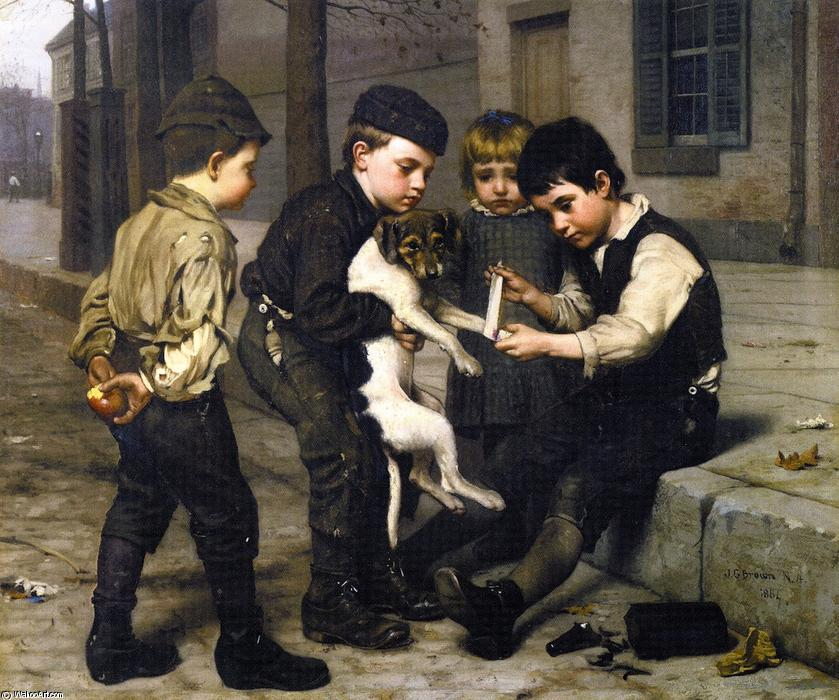 Il Playfellow ferito, olio su tela di John George Brown (1831-1913, United Kingdom)